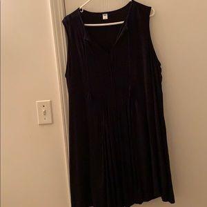 Black Pleated Shift Tank Dress